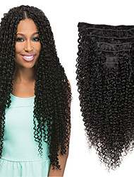 cheap -Clip In / On Human Hair Extensions Straight Human Hair Human Hair Extensions Brazilian Hair Natural Black 7 PCS New Arrival For Black Women Women's Black#1B