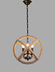 cheap -3-Light Circular Hemp Rope Pendant Light Ambient Light Painted Finishes Metal New Design AC100-240V Bulb Not Included / SAA