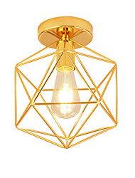 cheap -1-Light Modern Style Electroplated Geometric Pattern Design Metal Cage Ceiling Light Restaurant Cafe Flush Mount Light Bedroom Light Fixture