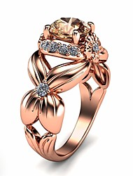 cheap -Women's Ring Cubic Zirconia 1pc Rose Gold Copper Platinum Plated Rose Gold Plated Four Prongs Ladies Elegant Korean Date Birthday Jewelry Crossover Flower Flower Shape Lovely / Imitation Diamond
