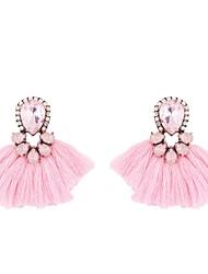 cheap -Women's Crystal Hoop Earrings Tassel Ladies Tassel European Austria Crystal Earrings Jewelry Brown / Light Blue / Light Pink For Daily 1 Pair