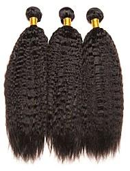 cheap -3 Bundles Yaki Straight Human Hair Unprocessed Human Hair Natural Color Hair Weaves / Hair Bulk Bundle Hair One Pack Solution 8-28 inch Natural Color Human Hair Weaves Cosplay New Arrival Cool Human
