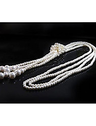 cheap -Women's Layered Necklace Long Necklace Layered Trendy Hyperbole Imitation Pearl Rhinestone White 110 cm Necklace Jewelry 1pc For Club Festival