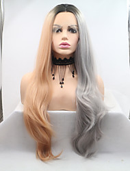 cheap -Synthetic Lace Front Wig Body Wave Layered Haircut Lace Front Wig Blonde Long Grey Synthetic Hair 26 inch Women's Women Dark Gray Blonde Sylvia