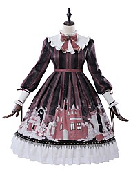 cheap -School Lolita Victorian Dress Girls' Female Japanese Cosplay Costumes Red Geometric Pattern Bishop Sleeve Long Sleeve Knee Length / Classic Lolita Dress