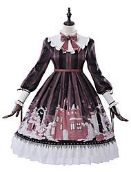 abordables -Lolita Ecolière Victoriens Robe Fille Femme Japonais Costumes de Cosplay Rouge Formes Géométriques Bouffantes Manches Longues Mi-long / Lolita Classique / Traditionnelle