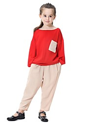 cheap -Kids Girls' Active Basic Street chic Party Daily Beach Solid Colored Long Sleeve Regular Clothing Set Fuchsia