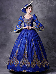 cheap -Victorian Rococo Baroque Medieval 18th Century Dress Outfits Party Costume Masquerade Women's Costume Blue Vintage Cosplay Party Prom 3/4 Length Sleeve Floor Length Ball Gown Plus Size Customized