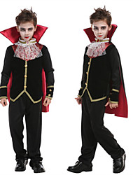 cheap -Vampire Cosplay Costume Masquerade Teenager Boys' More Uniforms Halloween Halloween Masquerade Festival / Holiday 75g / m2 Polyester Knit Stretch Satin Black Easy Carnival Costumes Simple / Coat