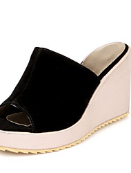 cheap -Women's Sandals Wedge Heel Suede Summer Black / Blue / Pink
