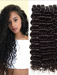 cheap -4 Bundles Peruvian Hair Deep Curly 100% Remy Hair Weave Bundles 400 g Natural Color Hair Weaves / Hair Bulk Extension Bundle Hair 8-28 inch Natural Color Human Hair Weaves Odor Free Extender Silk