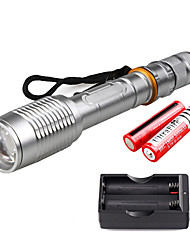 cheap -U'King LED Flashlights / Torch 2000 lm LED LED Emitters 5 Mode with Batteries and Charger Zoomable Adjustable Focus Camping / Hiking / Caving Everyday Use Outdoor / Aluminum Alloy