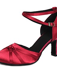 cheap -Women's Dance Shoes Modern Shoes Heel Bowknot Buckle Cuban Heel Fuchsia Ankle Strap / Performance / Satin