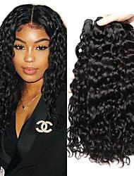 cheap -3 Bundles Peruvian Hair Water Wave Remy Human Hair 100% Remy Hair Weave Bundles 300 g Natural Color Hair Weaves / Hair Bulk Human Hair Extensions 8-28 inch Natural Color Natural Black Human Hair / 8A