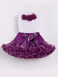 cheap -Kids Toddler Girls' Basic Street chic School Beach Floral Bow Ruffle Mesh Sleeveless Regular Cotton Clothing Set Purple