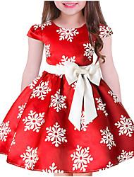 cheap -Kids Girls' Sweet Floral Christmas Short Sleeve Dress Blue