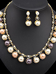 cheap -Women's Pearl Drop Earrings Necklace Classic Ladies Stylish Unique Design Elegant Pearl Gold Plated Earrings Jewelry Gold For Party Gift Prom