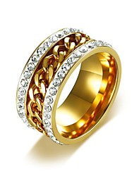 cheap -Men's Band Ring Eternity Band Ring AAA Cubic Zirconia 1pc Gold Titanium Steel Hip-Hop Dubai Wedding Masquerade Jewelry Cuban Link Twisted Bottle Opening