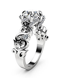 cheap -Women's Ring AAA Cubic Zirconia 1pc Silver Copper Platinum Plated Imitation Diamond Six Prongs Ladies Unique Design Fashion Wedding Party Jewelry Cut Out Totem Series Petal Lovely