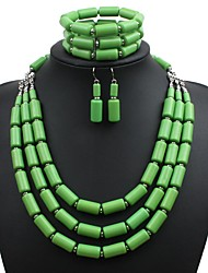 cheap -Women's Synthetic Tanzanite Necklace Beads Snake Stylish Resin Earrings Jewelry Purple / Yellow / Green For Holiday Going out 1 set