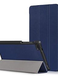 Недорогие -Кейс для Назначение Lenovo Lenovo Tab 7 Essential / Lenovo Tab 4 7 Essential Защита от пыли / Флип / Авто Режим сна / Пробуждение Чехол Однотонный Твердый Кожа PU