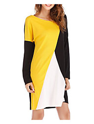cheap -Women's Daily Vintage Puff Sleeve A Line Dress - Color Block Black & White Yellow M L XL