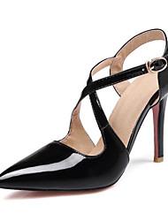 cheap -Women's Heels Stiletto Heel PU Summer Black / Red / Pink / Daily