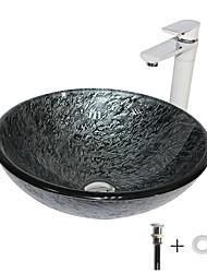 Недорогие -умывальник для ванной / смеситель для ванной / монтажное кольцо для ванной Современный - Закаленное стекло Круглый Vessel Sink