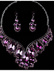 cheap -Women's Multicolor Cubic Zirconia Amethyst High End Crystal Drop Earrings Bib necklace Pear Statement Ladies Stylish Luxury Romantic Elegant Rhinestone Earrings Jewelry Purple / Red / Blue For