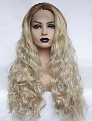 cheap -Synthetic Lace Front Wig Wavy Middle Part Lace Front Wig Ombre Long Ombre Color Synthetic Hair 22-26 inch Women's Heat Resistant Women Color Gradient Ombre / For Black Women