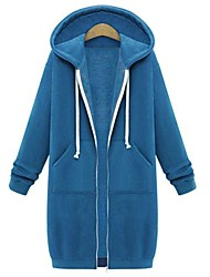 cheap -Women's Plus Size Hoodie Jacket Solid Colored Basic Street chic Hoodies Sweatshirts  Cotton Slim Black Blue Blushing Pink / Fall / Winter