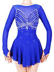 cheap -21Grams Figure Skating Dress Women's Girls' Ice Skating Dress Royal Blue Spandex Stretch Yarn High Elasticity Professional Competition Skating Wear Handmade Fashion Long Sleeve Ice Skating Winter