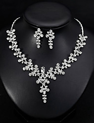 cheap -Women's Jewelry Set Bridal Jewelry Sets Cut Out Flower Precious Fashion Silver Plated Earrings Jewelry Silver For Christmas Wedding Halloween Party Evening Gift 1 set