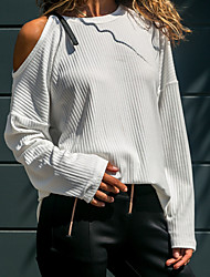 cheap -Women's Daily Active Off Shoulder Solid Colored Long Sleeve Regular Pullover Sweater Jumper, Round Neck Black / White / Yellow S / M / L