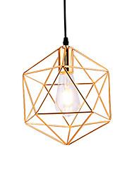 cheap -1-Light Modern Style Electroplated Geometric Pattern Design Metal Cage Pendant Light Restaurant Cafe Pendant Lamp