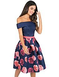 cheap -Women's Club Elegant A Line Dress - Floral Print High Waist Off Shoulder Summer Blue Pink S M L / Sexy