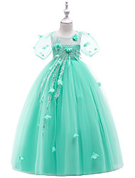 cheap -Princess / A-Line Maxi Pageant Flower Girl Dresses - Organza / Tulle / Satin Chiffon Short Sleeve Jewel Neck with Appliques / Tiered