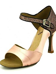 cheap -Women's Dance Shoes Satin Latin Shoes Sparkling Glitter Heel Flared Heel Pink / Almond / Nude / Performance / Leather / Practice / EU39
