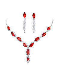 cheap -Women's Red Crystal Necklace Earrings Set Classic Gypsophila Luxury Rhinestone Earrings Jewelry Black / Purple / Red For Wedding Party 1 set