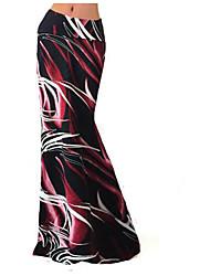 abordables -Femme Grandes Tailles Soirée Maxi Moulante Jupes - Bloc de Couleur Taille haute Bleu Rouge XL XXXL XXL