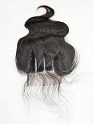 cheap -Brazilian Hair 4x4 Closure Wavy 3 Part Middle Part Swiss Lace Human Hair Women's / Girls' Party / Women / Extention Wedding Party / Military Ball / School