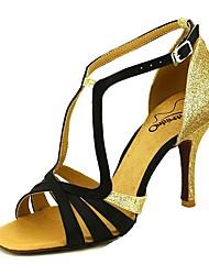 cheap -Women's Latin Shoes Satin T-Strap Heel Flared Heel Dance Shoes Almond / Nude / Purple / Performance / Leather / Practice / EU37