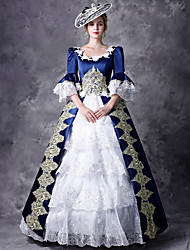 cheap -Victorian Duchess Rococo Baroque Victorian 18th Century Square Neck Dress Outfits Party Costume Masquerade Women's Lace Costume Red / Blue Vintage Cosplay Party Prom 3/4 Length Sleeve Floor Length