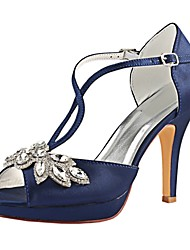 cheap -Women's Pumps Satin Summer Wedding Shoes Stiletto Heel Peep Toe Sparkling Glitter / Buckle Dark Blue / Party & Evening