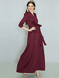 cheap -Women's Holiday / Work Basic / Street chic Maxi Loose Tunic / Swing Dress - Solid Colored Lace up High Waist V Neck Spring Red XL XXL XXXL / Sexy