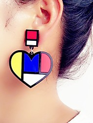 cheap -Women's Drop Earrings 3D Heart Ladies Stylish Classic Earrings Jewelry Black For Daily 1 Pair