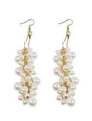 cheap -Women's Drop Earrings Link / Chain Ladies European Pearl Gold Plated Earrings Jewelry White For Date 1 Pair