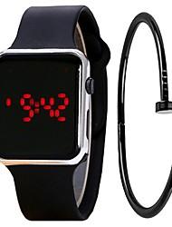 Недорогие -Для пары Спортивные часы Цифровой Подарочный набор силиконовый Pезина Черный / Белый 30 m Секундомер Творчество ЖК экран Цифровой Мода минималист - / Один год