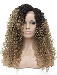 cheap -Synthetic Lace Front Wig Kinky Curly Side Part Glueless Lace Front Wig Long Dark Brown / Golden Blonde Synthetic Hair 24 inch Women's 100% kanekalon hair Light Brown
