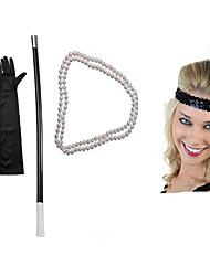 cheap -The Great Gatsby Charleston Vintage 1920s Costume Accessory Sets Necklace Flapper Headband Women's Feather Costume Head Jewelry Pearl Necklace Black Vintage Cosplay Party Prom Sleeveless / Gloves
